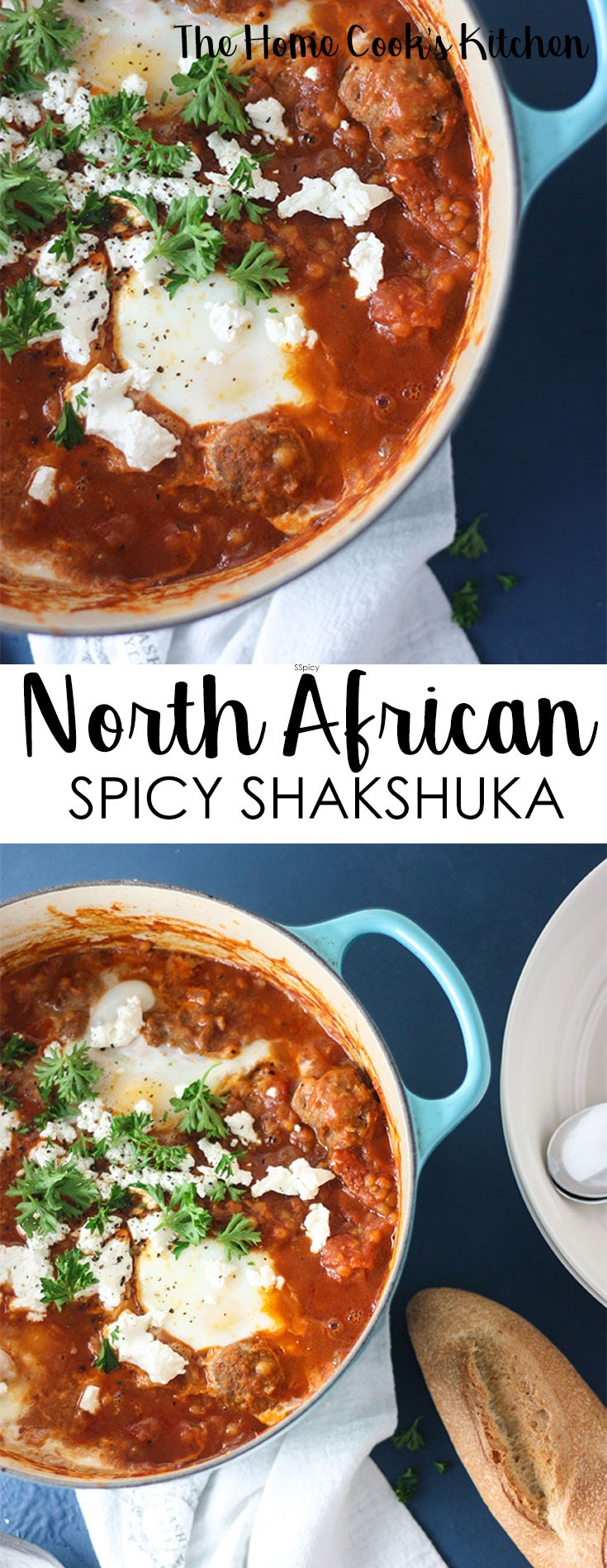 Perfect for lazy weekends, or when you need some comfort food. This North African Spicy Shakshuka is a hearty meatball stew, with spicy harissa tomato sauce. Great for breakfast, brunch or dinner! #shakshuka #bakedeggs #dinnerrecipe