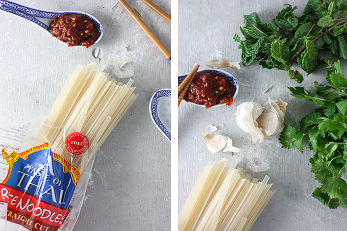 side by side collage of rice noodles, garlic, mint and chilli paste