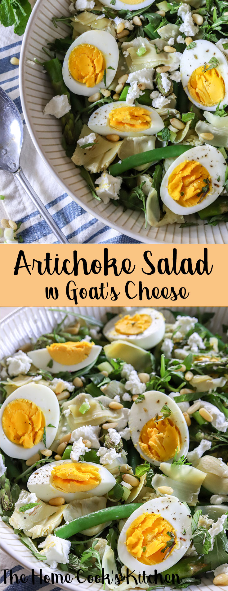 A light, fresh healthy salad, this artichoke salad with goat cheese is a quick and easy recipe, great for spring entertaining, weeknight meals or family get-togethers. Combining the fresh flavors of #spring, this salad is quick, easy and delicious #springrecipe #springsalad #salad