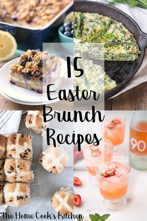 four easter brunch recipes in a square with text