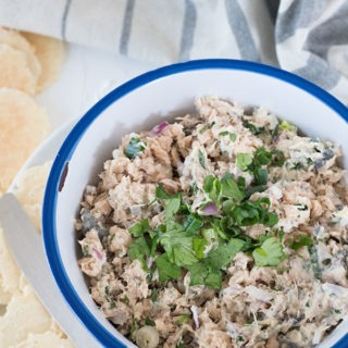 salmon dip in white bowl with bluoe rim