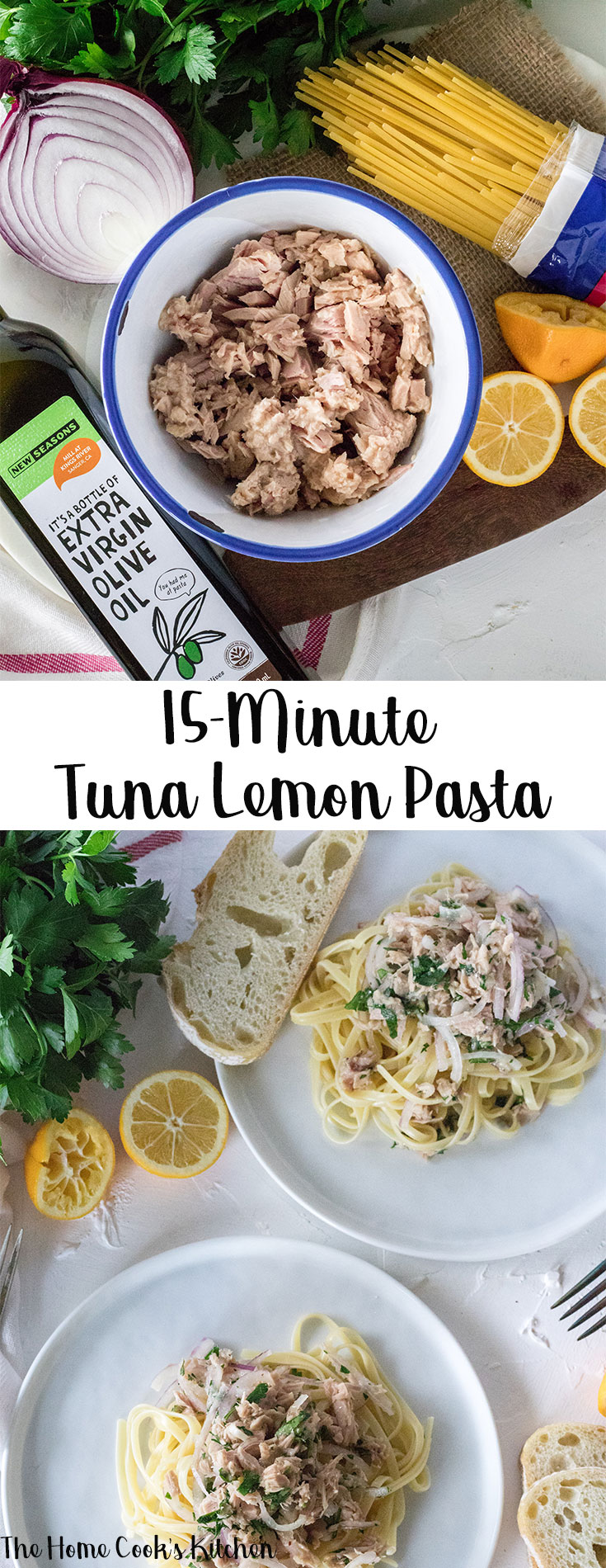 This 15-minute tuna lemon pasta is the perfect meal for busy people on the go. Fresh, fast and delicious, this pasta is a great weeknight meal idea! #pasta #tunapasta #springrecipe