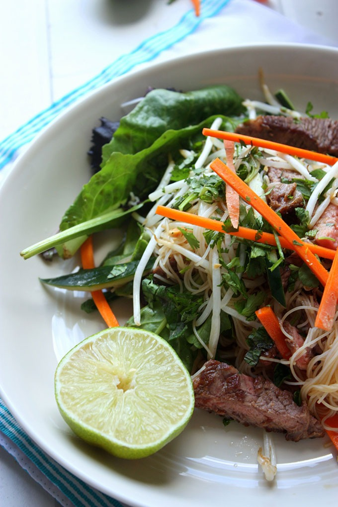 vietnamese beef salad on cream bowl