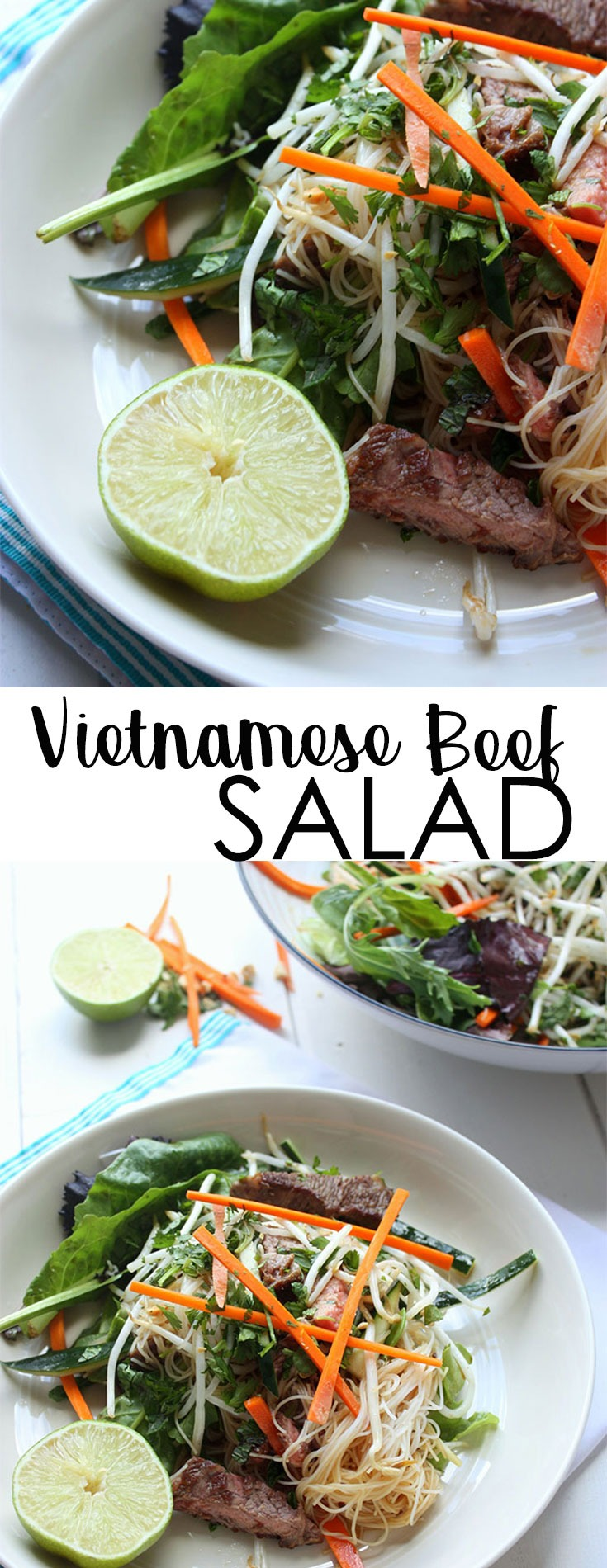 This Vietnamese Beef Salad is light, fresh, hearty and healthy. A winning combination of classic Vietnamese flavours, this salad is perfect for lunch, dinner, summer picnics or weekend gatherings. #vietnamesebeefsalad #beefsalad #healthysalad #saladrecipe