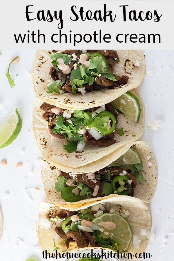 easy steak tacos Pinterest graphic