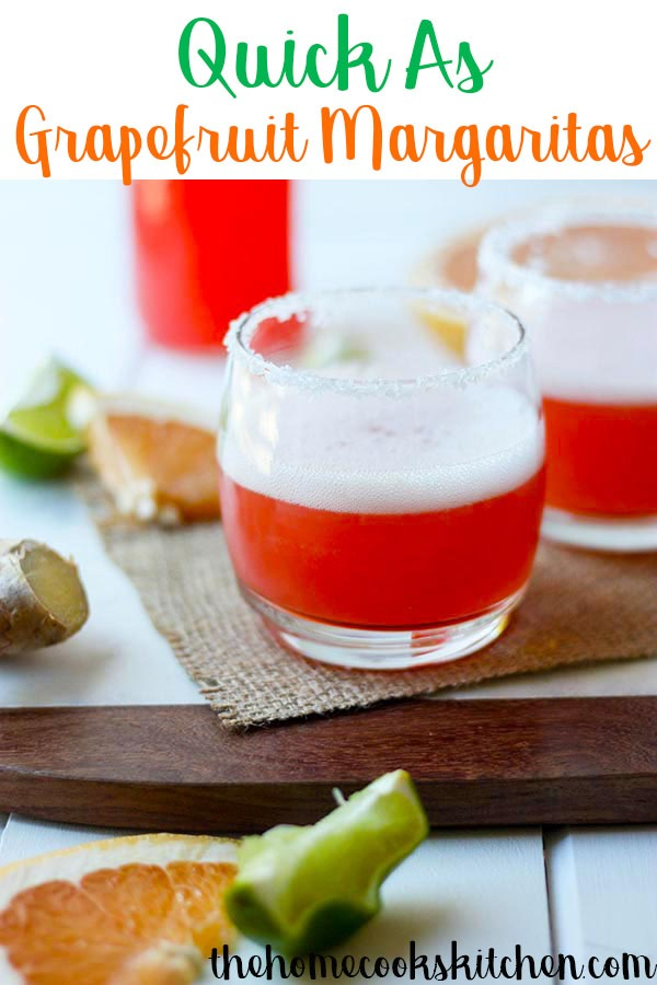 Looking for the perfect weekend #cocktail? These grapefruit margaritas are a perfect balance of sweet and sour. Whip these up in a second to get the party started, these margs are your answer to weekend entertaining and fun! #margaritas #grapefruitcocktails #cocktails