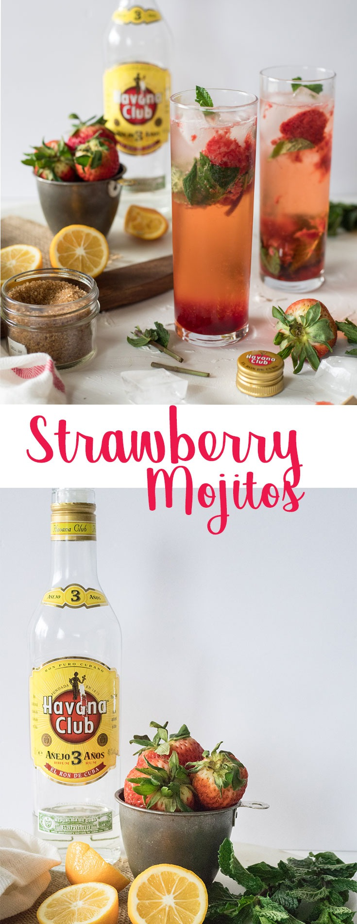 Looking for a signature cocktail this summer? this strawberry mojito recipe is a total crowd pleaser. Great for parties and gatherings, these cocktails are light, fresh, simple and full of flavour. They taste just like strawberry lemonade, with an additional little kick! #mojito #strawberrymojito #summercocktail #cocktail