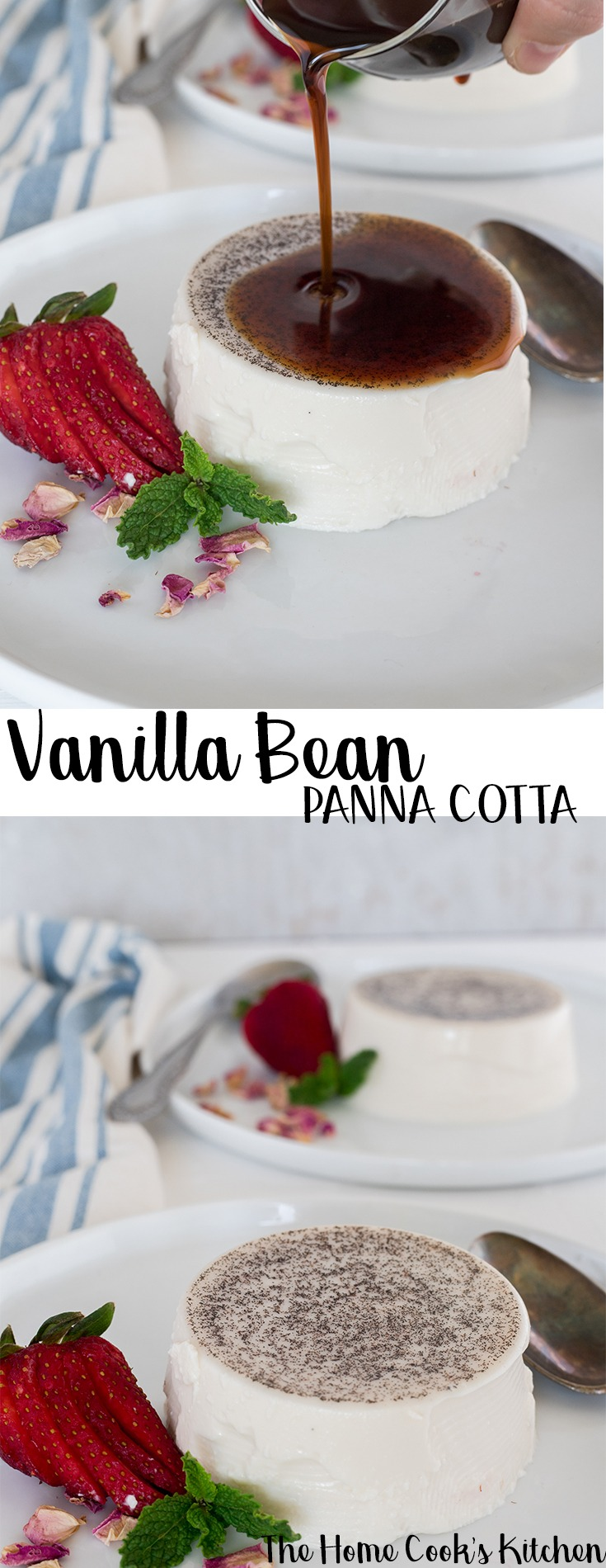 A creamy vanilla bean panna cotta with the most beautiful smoothy espresso syrup! This vanilla bean panna cotta is a great dessert to impress. Light, elegant, not too sweet and beautifully smooth #pannacotta #vanilla #dessert #vanillapannacotta