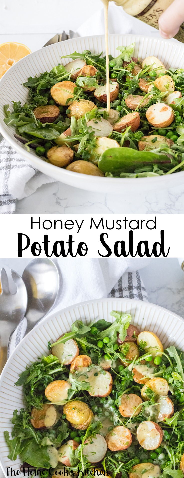 This honey mustard potato salad is a light, fresh spring salad bringing together the best of fresh spring produce. This is a quick and easy potato salad recipe, that is perfect for weekend gatherings, backyard parties, potluck or outdoor picnics. #springsalad #summersalad #potatosalad #potatosaladrecipe #saladrecipe