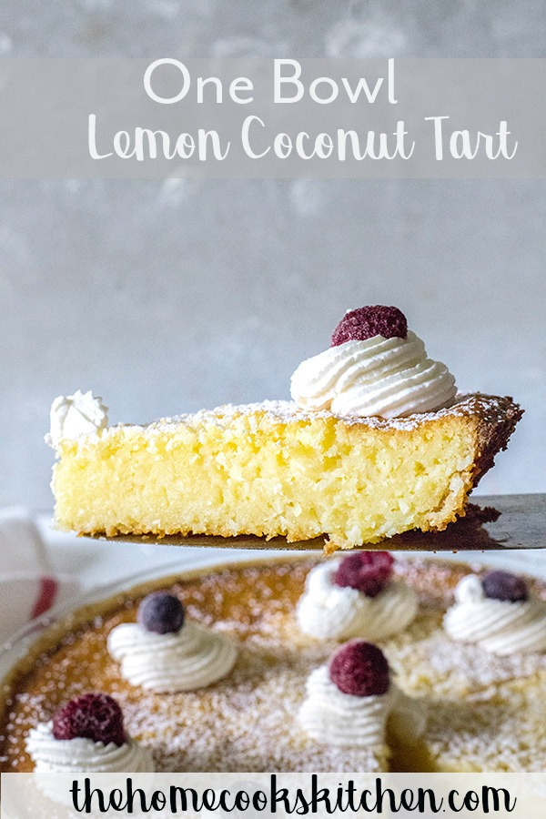 One bowl, this lemon coconut tart is quick and easy to make, and full of zesty lemon! You won't stop at one piece with this light and fresh dessert! #dessert #lemontart #lemoncoconuttart #lemontartrecipe #springrecipe #summerrecipe #springdessert #lemondessert #summerdessert #tart