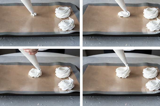 4 sequence image on how to pipe meringues