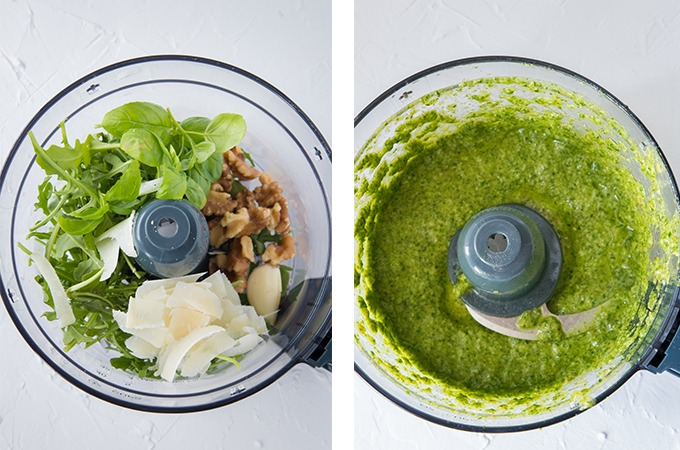 arugula pesto collage, from left to right, left - pesto ingredients in a food processor, right - pesto blended until smooth