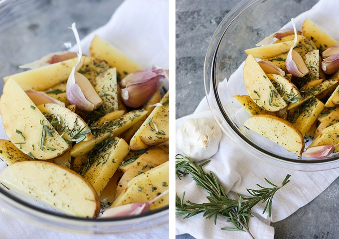 oven baked fries recipe collage, from left to right - potatoes in clear bowl with olive oil, close up image, right, oven baked fries in bowl overhead