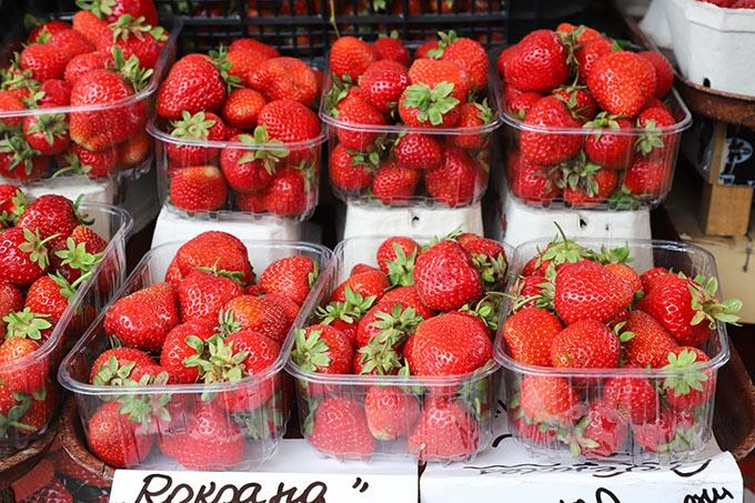 strawberries at the riga central market