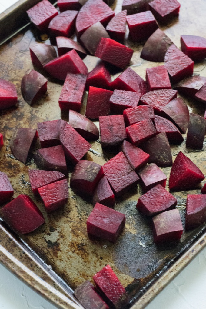 raw beetroto on roasting tray