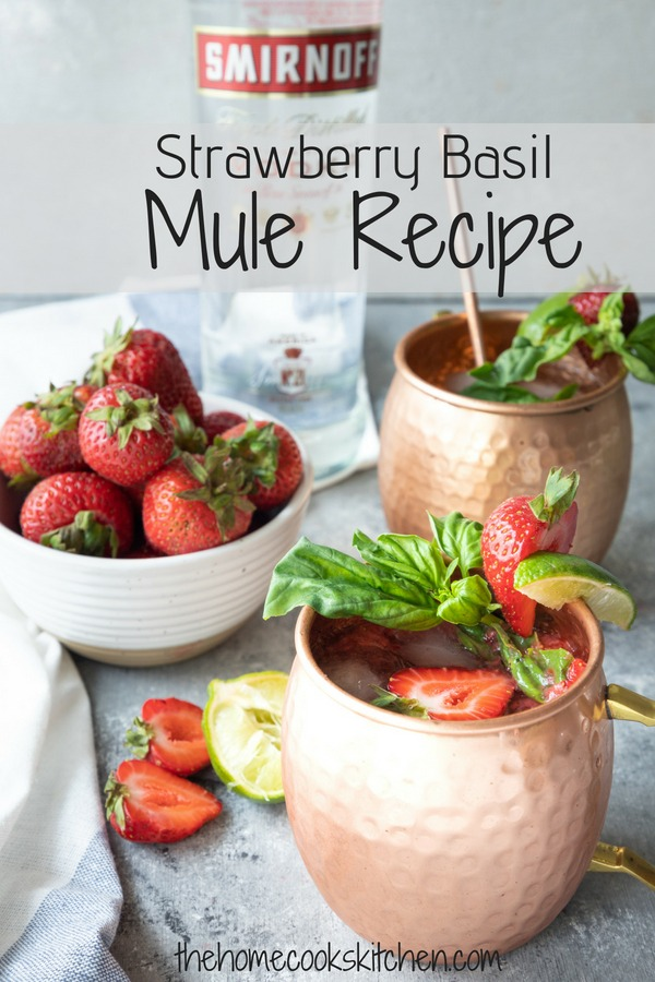 The perfect way to end your summer. This Strawberry Basil Mule Moscow Mule is great for last minute parties and entertaining. Quick and easy to make, these will be your signature cocktail for summer! #moscowmule #moscowmulerecipe #strawberrymoscowmule #summercocktail AD msg 4 21+ #SmirnoffUS #CelebratorySips