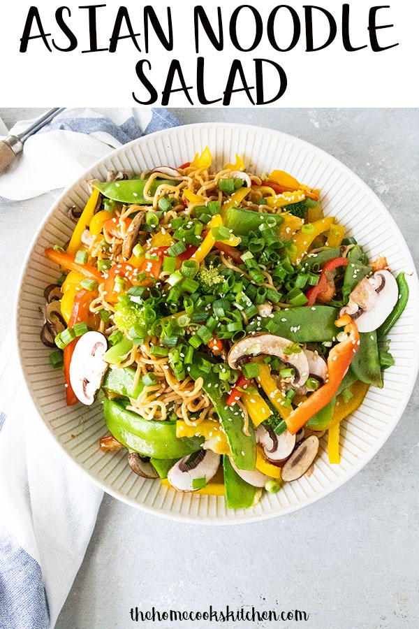 Asian Noodle Salad - this salad is enough to feed an army...of about four to six. Packed full of veggies and smothered in the most divine dressing, this Asian noodle salad is a total crowd pleaser! #noodlesalad #asiannoodlesalad #asiansalad #vegetablesalad