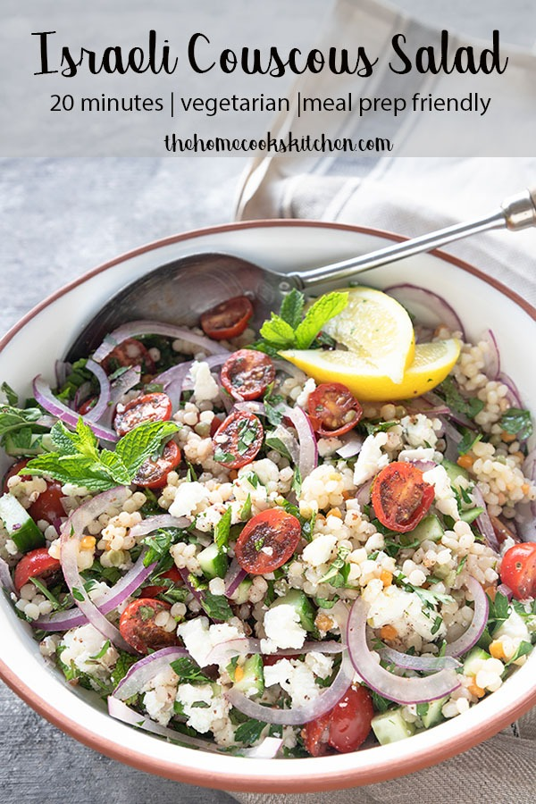 Light and zesty, this Israeli couscous salad is perfect for entertaining, meal prep or everyday dinners. Picture this - fresh herbs, combined with zesty lemony tomatoes, brought together with crunchy cucumber, creamy feta cheese and chewy couscous. This salad is not only filling, it's irresistibly tasty too! #couscoussalad #couscous #israelicouscous #mealprep #saladrecipe #salad #weeknightdinner #recipesforentertaining