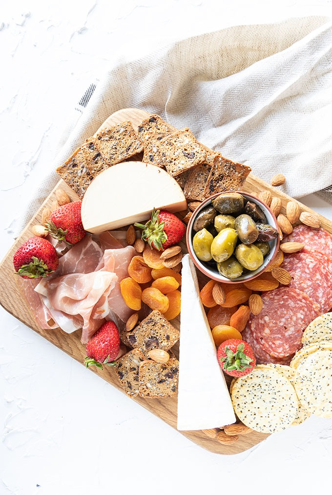 overhead of meat and cheese board