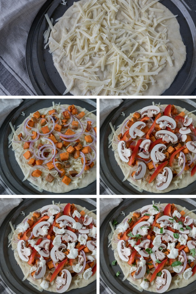 veggie pizza recipe collage. from top - pizza base with cheese, pizza with sweet potato and onion, pizza with pepper and mushroom added, pizza with more cheese, pizza with basil added