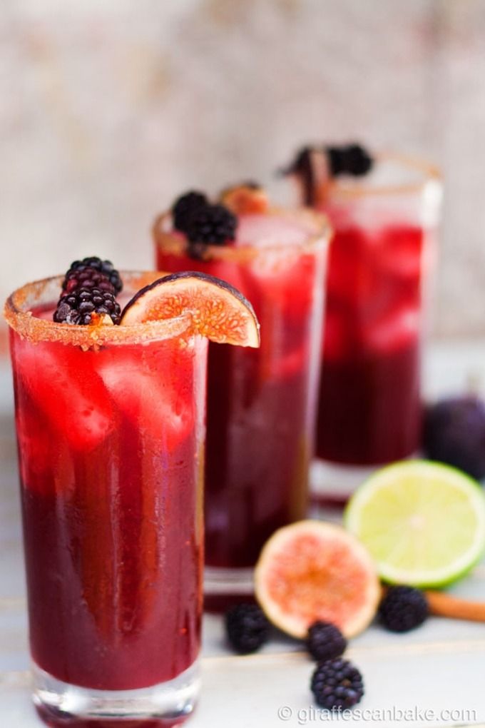 15 fall cocktails - 3 tall glasses of blackberry cinnamon fig margaritas in a row