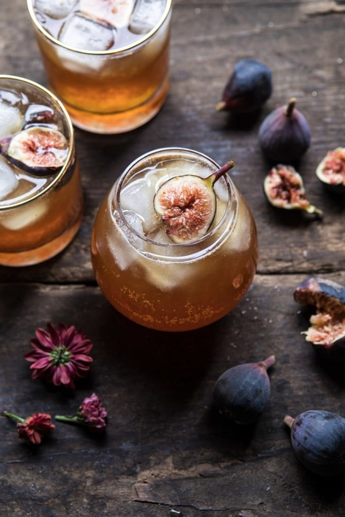 15 fall cocktails - bourbon fig cider smash on board with figs