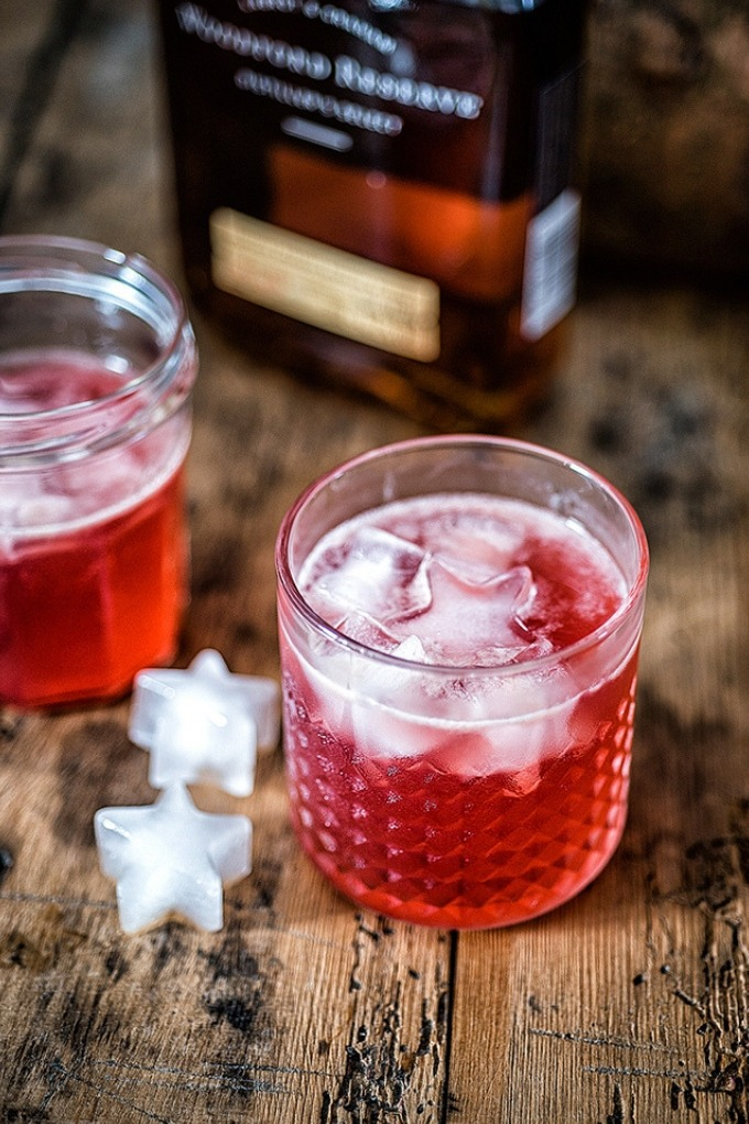 15 fall cocktails - red scofflaw in clear cocktail glass