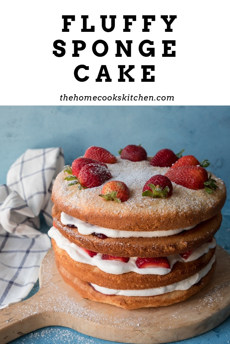 Layers of soft sponge cake sandwiched together with jam, cream and fresh strawberries. This fluffy sponge cake is a gorgeous cake for any occasion! Plus, follow my tips and tricks to getting the fluffiest sponge every time! #spongecake #sponge #fluffyspongecake #baking