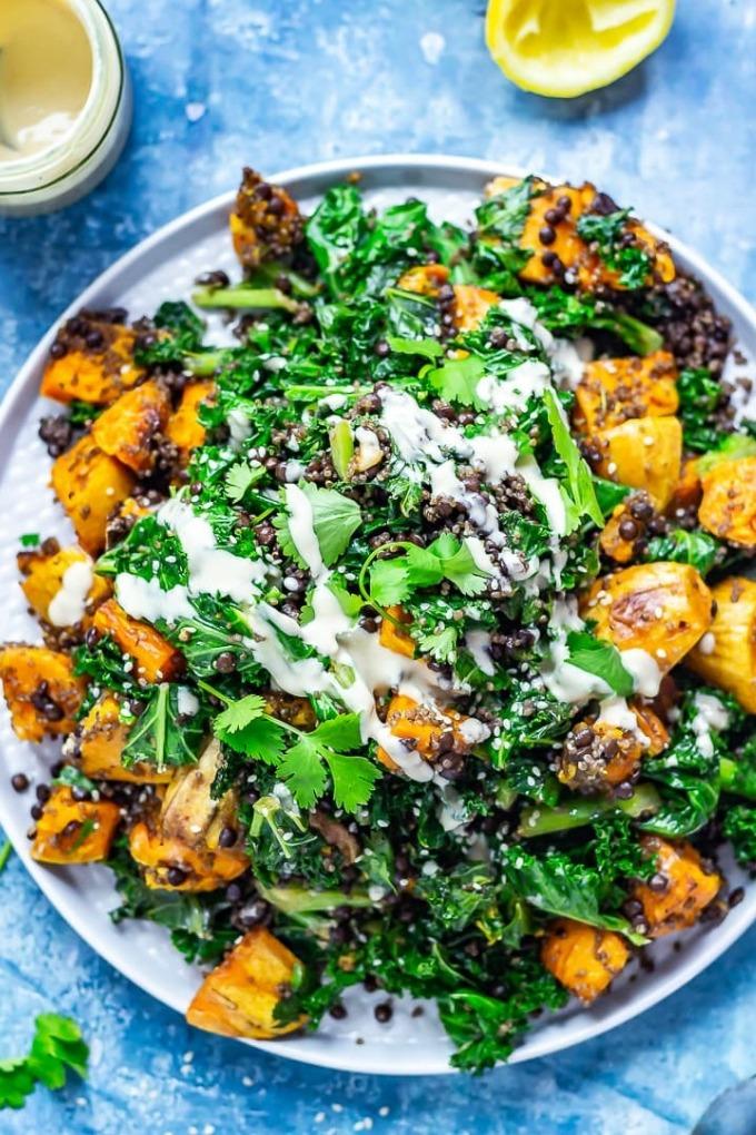 20 falls salad recipes - lentil sweet potato salad