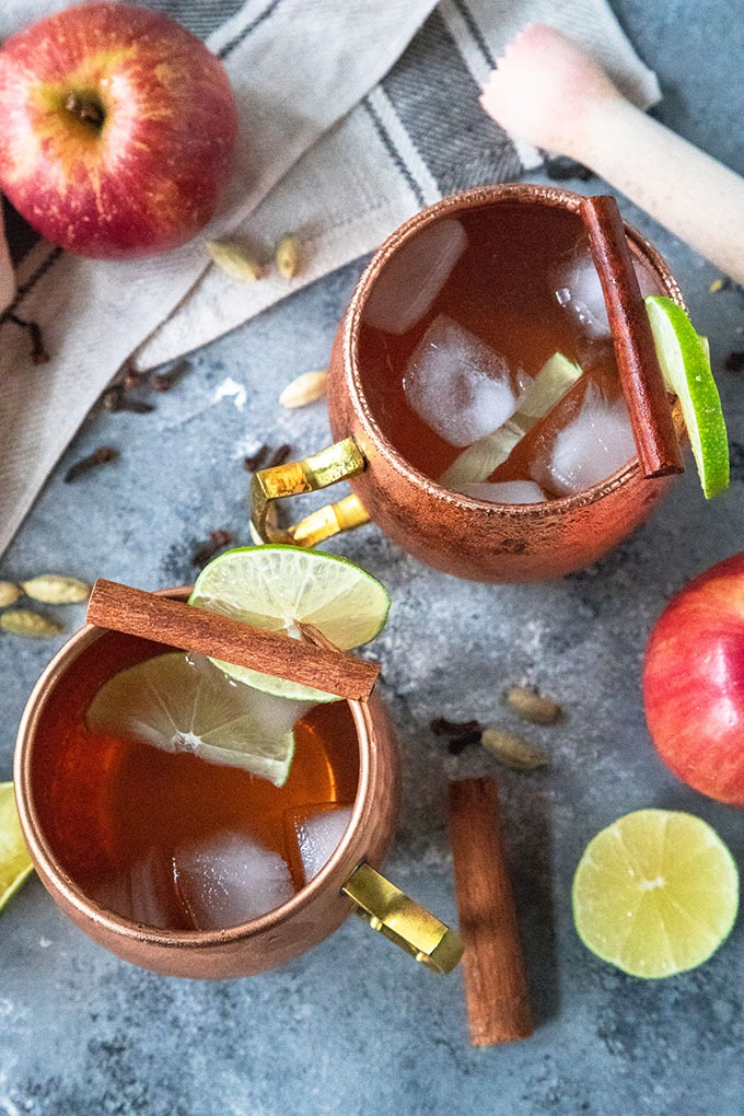 overhead of apple cide rmoscow mule in copper mugs