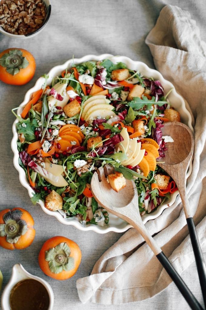 20 fall salad recipes - apple and persimmon salad