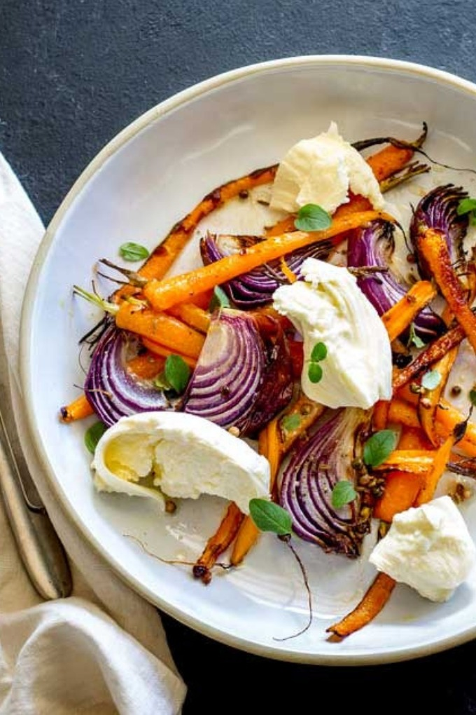 20 fall salad recipes - roasted carrot mozzarella salad