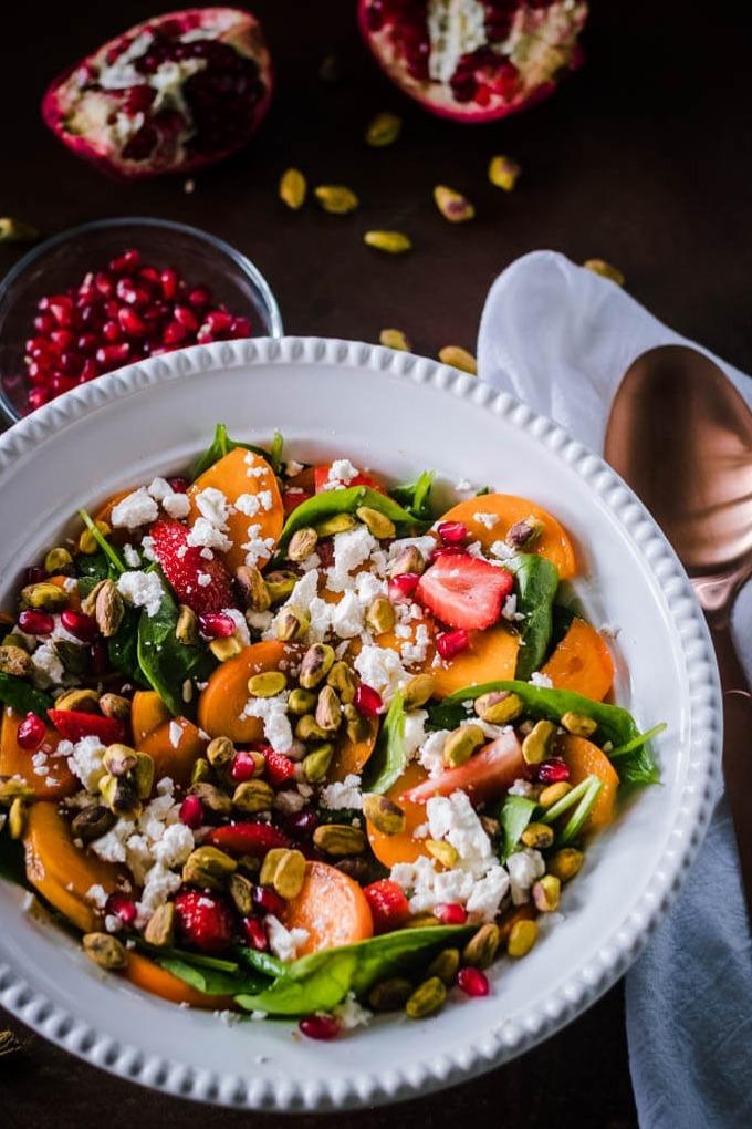20 fall salad recipes - spinach persimmon salad