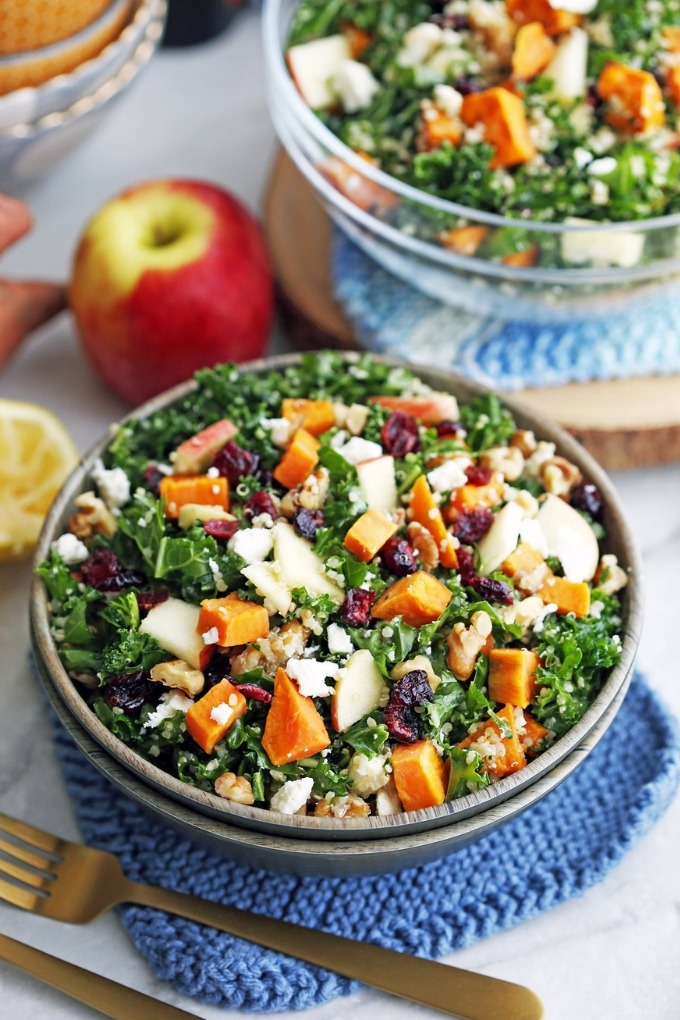 20 fall salad recipes - sweet potato quinoa kale salad