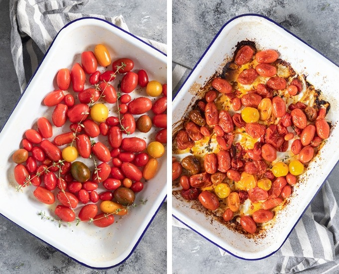 roasted tomato collage image 1 - fresh tomatoes in enamel baking tray, image 2 - roasted tomatoes in enamel tray