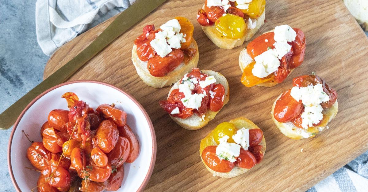 Tomato Crostini with Marinated Feta