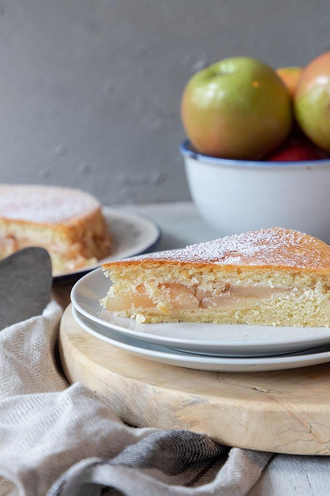 apple shortcake on white plate