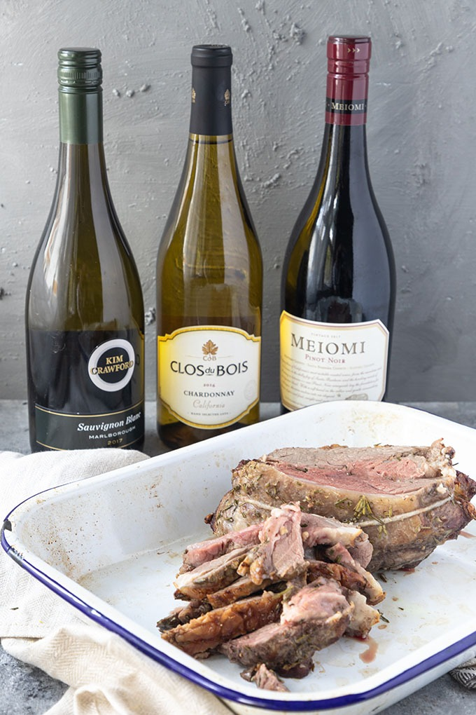 cooked boneless lamb roast with three wines