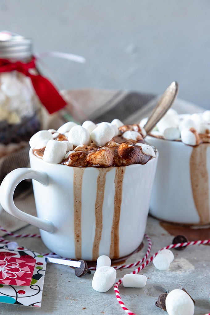 close up of hot chocolate in white mug