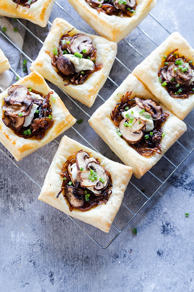 mushroom tart on wire rack