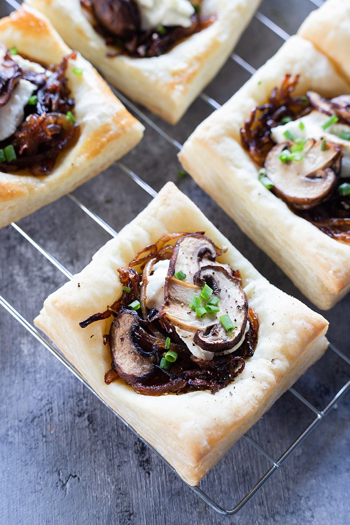 close up mushroom tart on wire rack