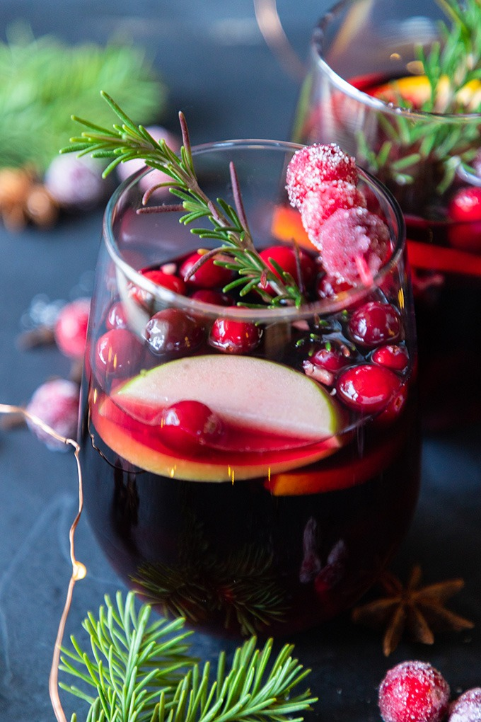 close up red sangria in wine glass