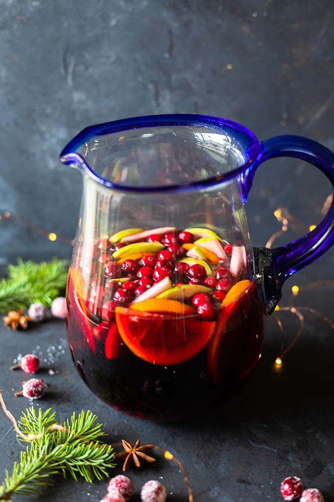 red wine and fruit in pitcher