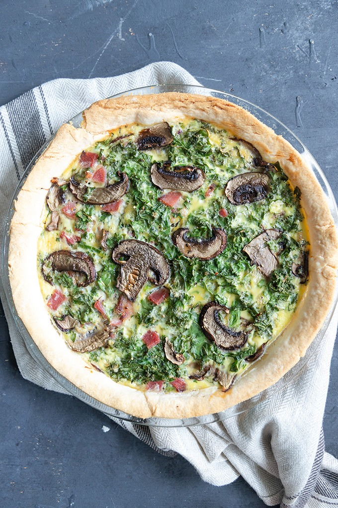 quiche in glass pie dish
