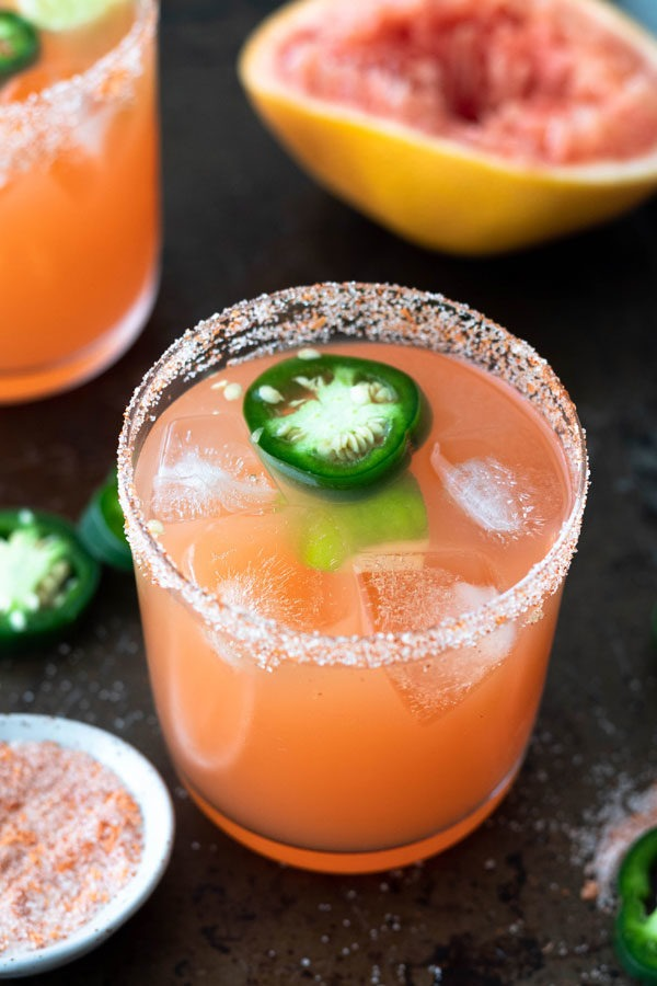 spicy margarita on tray