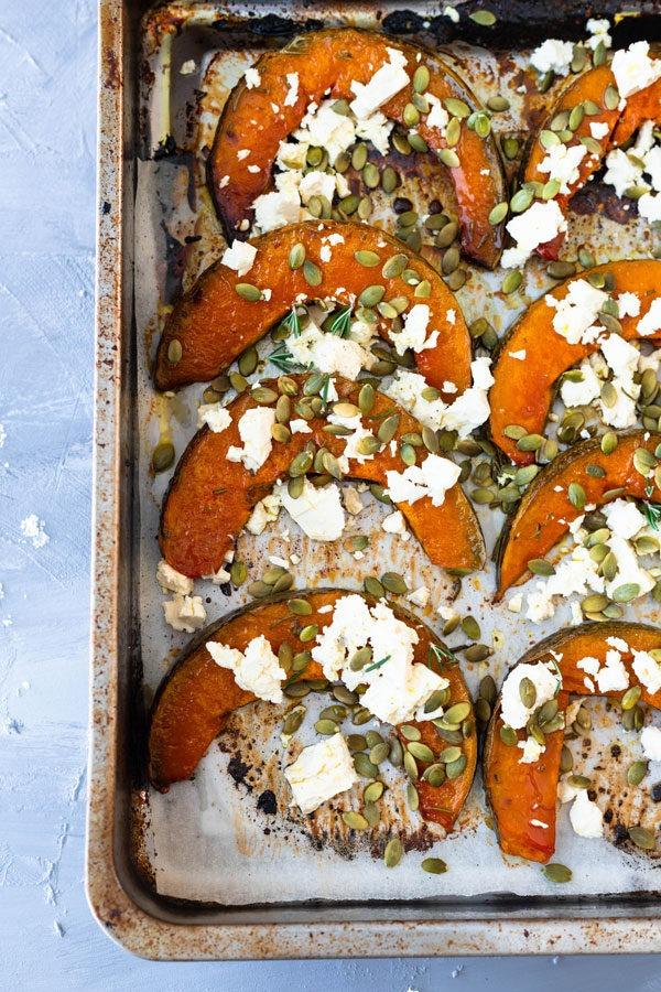 roast pumpkin on large tray