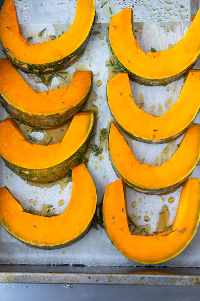 roast pumpkin ready to be roasted in oven