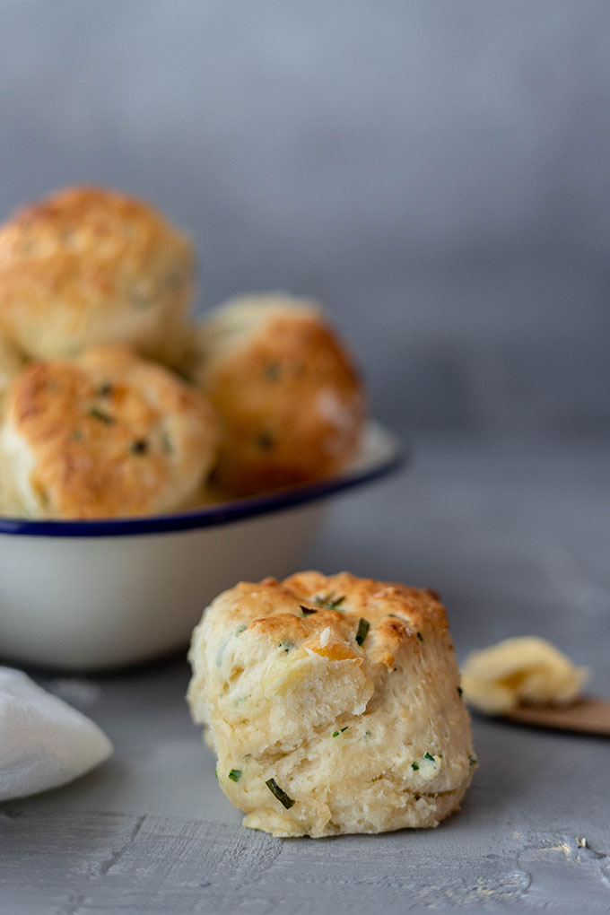 savoury scones in enamel dish