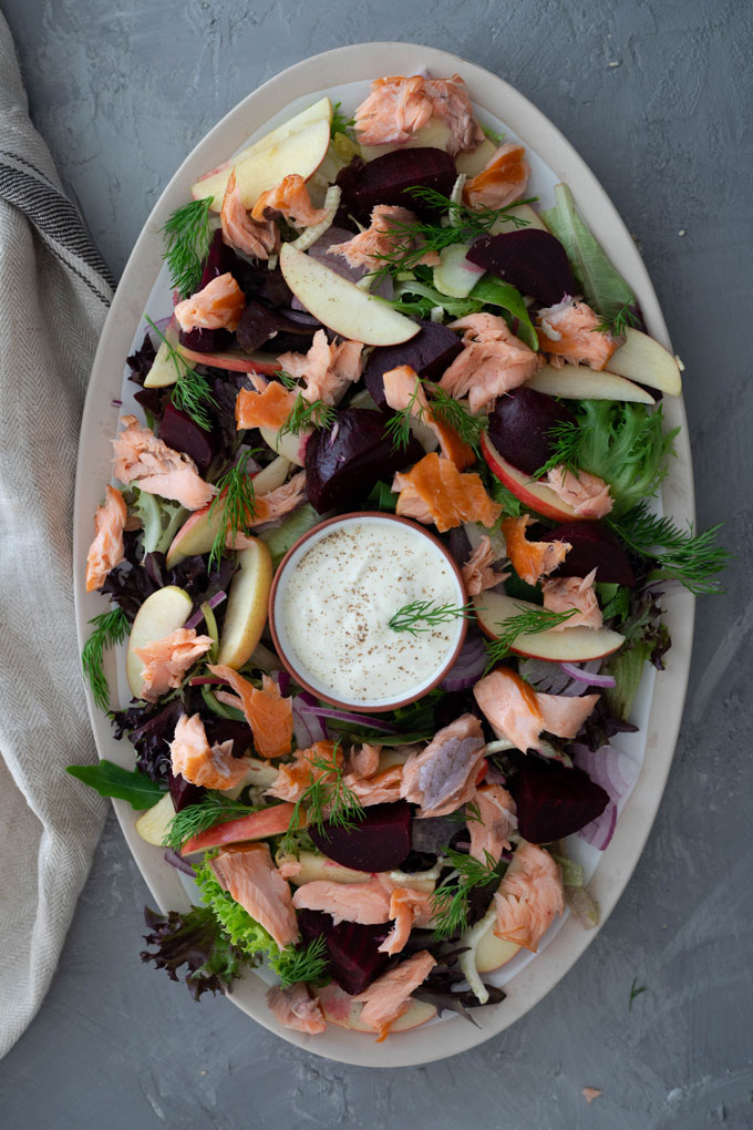 smoked salmon salad on large platter