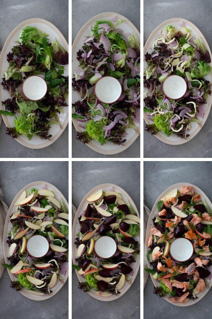 process of assembling smoked salmon salad